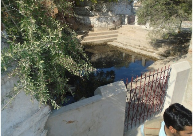 تالاب کے اردگرد حفاظتی دیوار بنا کر چھوٹا سا دروازہ بھی لگایا گیا ہے