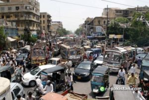 KARACHI, PAKISTAN, JUNE 12: The traffic remained jammed for hours due to the lawyers protesting under the banner of Justice Lawyer's Front on Tuesday. The protestors were rejecting the oncoming budget, terming it as anti-people in Karachi June 12, 2012. (Rizwan Ali/PPI Images)