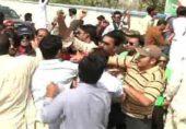 کوہاٹ میں وزیراعظم کے جلسہ گاہ کے باہر پی ٹی آئی اور (ن) لیگی کارکنوں میں تصادم
