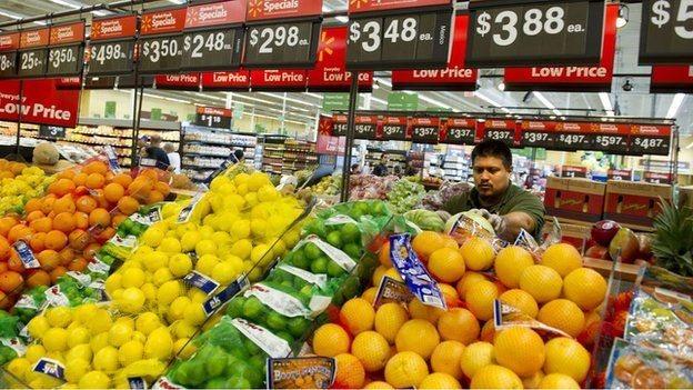 والمارٹ میں پھل اور سبزیوں کی نمائش