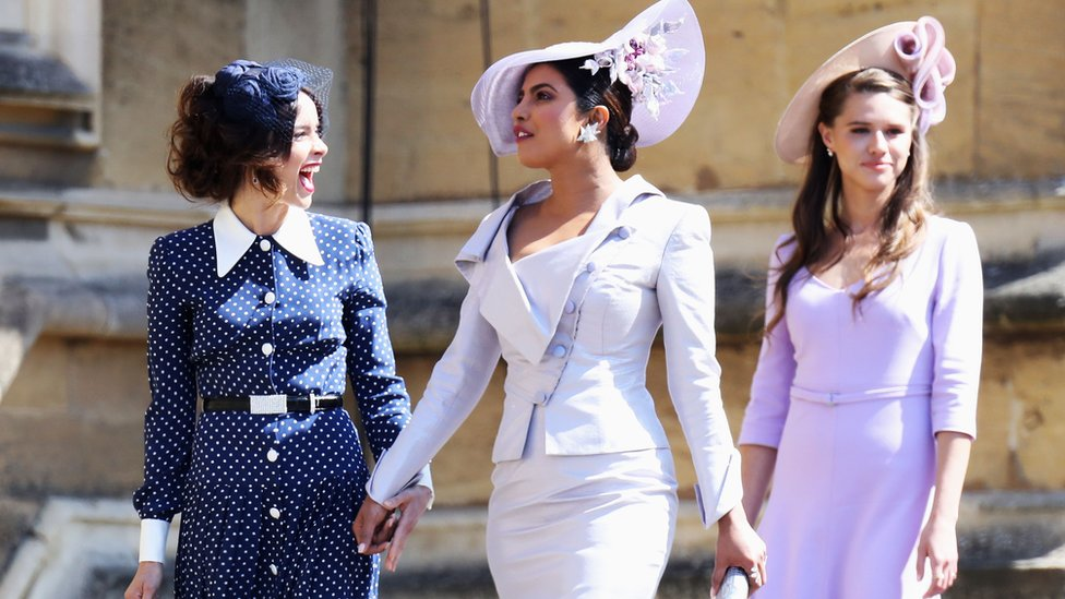 Priyanka Chopra, centre, attending the royal wedding of Prince Harry and Meghan Markle in May