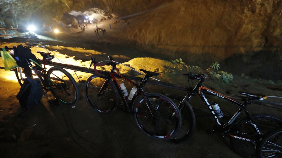 Bicycles pictured close to the cave's entrance