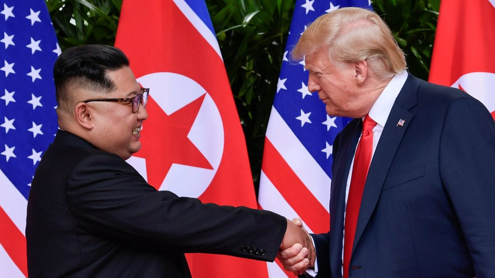 Kim Jong-un and Donald Trump at the June summit in Singapore
