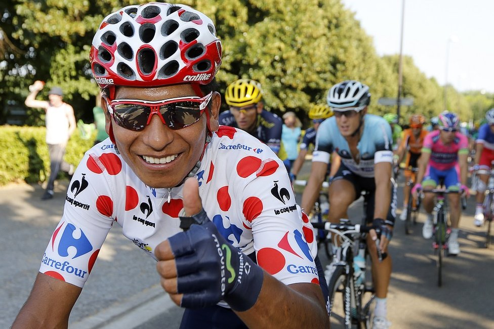 Nairo Quintana wearing the polka dot jersey during the 2013 Tour de France
