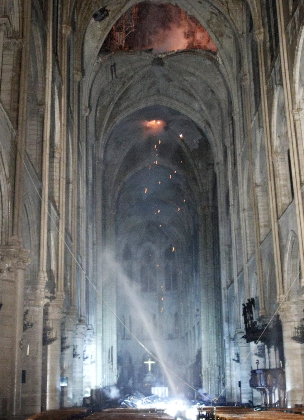 Interior view of Notre Dame during the fire