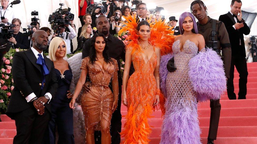 Corey Gamble, Kris Jenner, Kanye West, Kim Kardashian West, Kendall Jenner, Kylie Jenner and Travis Scott arrives for the 2019 Met Gala