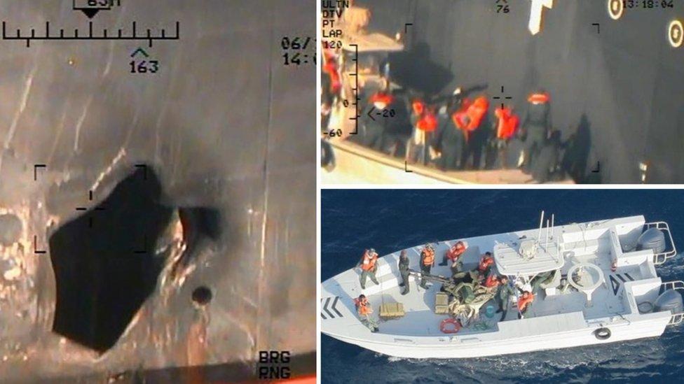 امریکہ کے مطابق ان تصاویر میں ٹینکروں کو پہنچنے والا نقصان اور پاسدارانِ انقلاب کے اہلکاروں کو دیکھا جا سکتا ہے۔