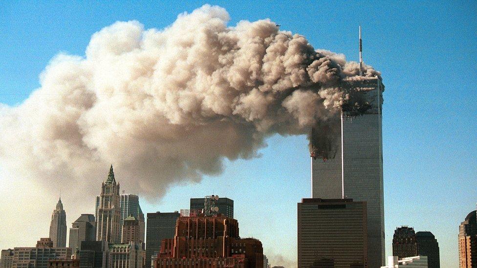 11 ستمبر 2001 کو حملوں کا نشانہ بننے والا ورلڈ ٹریڈ سینٹر