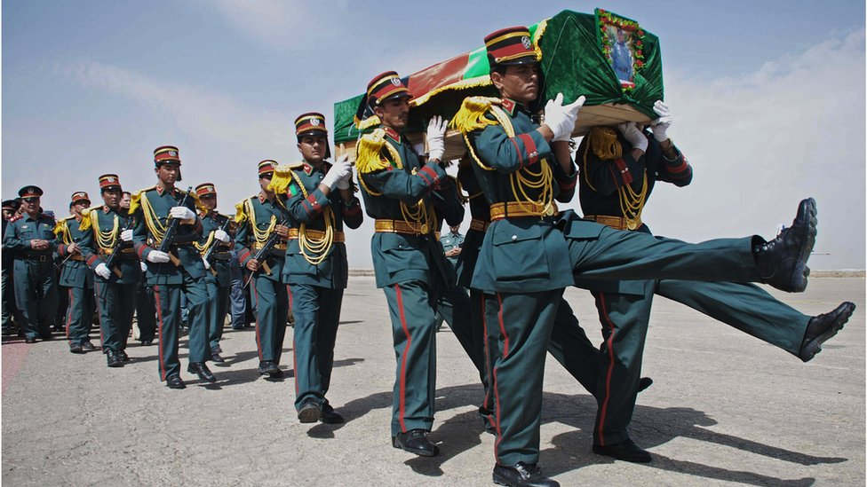 An Afghan honour guard carries the coffin of a policemen