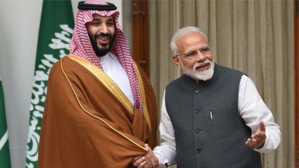 سعودی شہزادہ ولی عہد کے ساتھ نریندر مودی
