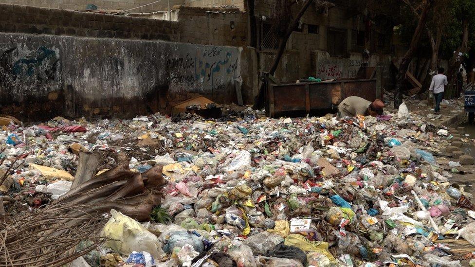 کراچی، مکھیاں، کچرا