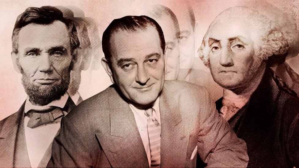 ابراہم لنکن (بائیں) لنڈن بی جانسن اور جارج واشنگٹن