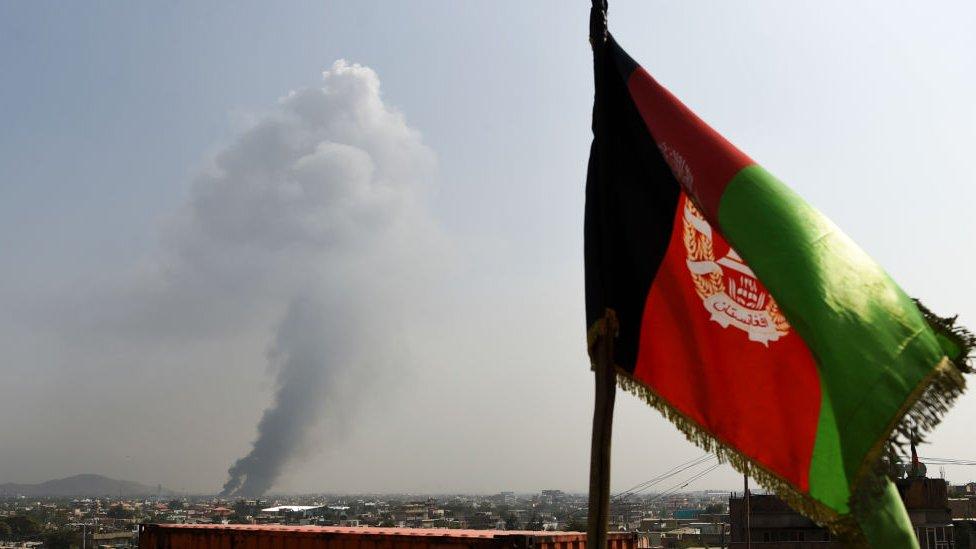 3 ستمبر 2019 کو کابل کے علاقے گرین ویلِج میں طالبان کے حملے کے بعد کا منظر