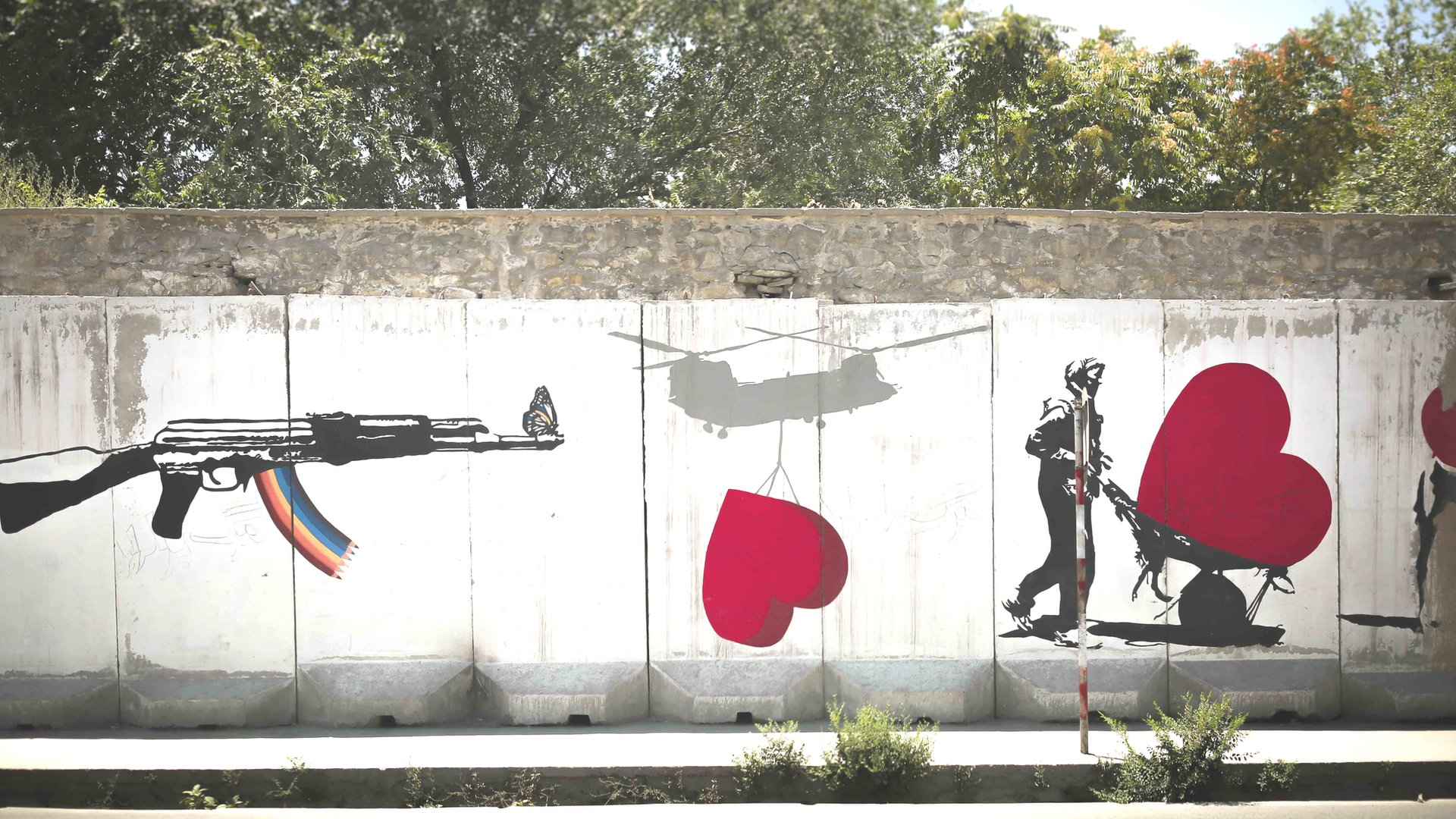 Graffiti of guns and hearts in Afghanistan