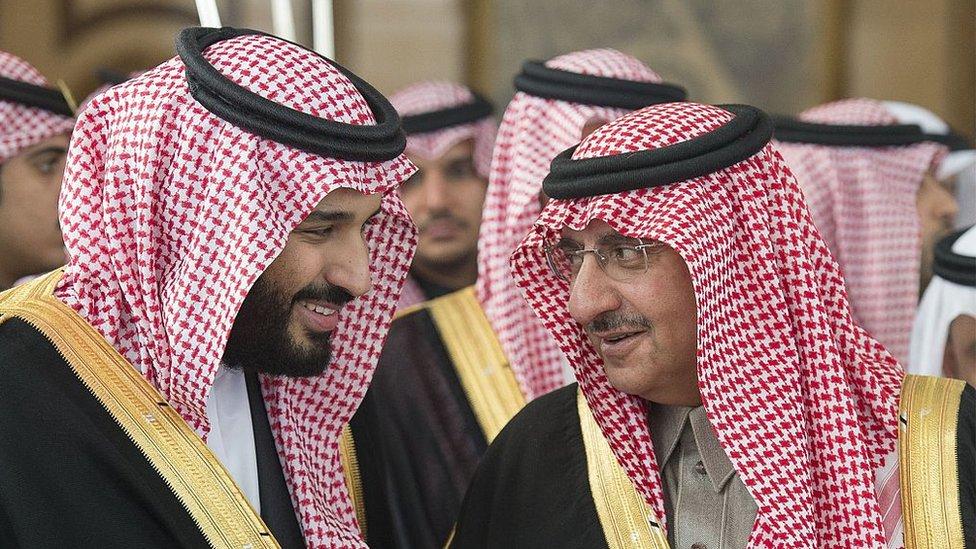 سابق ولی عہد و وزیرِ داخلہ محمد بن نائف اور موجودہ ولی عہد محمد بن سلمان