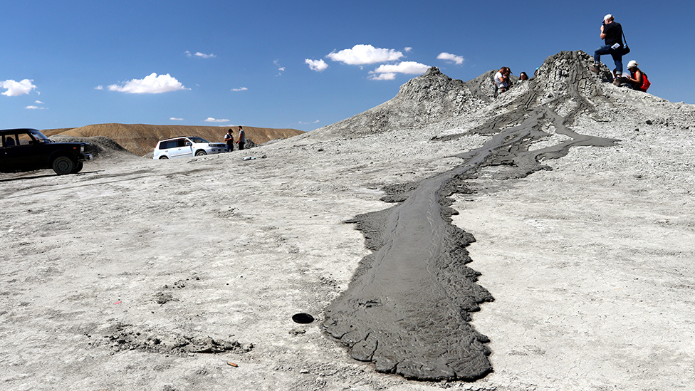 On Earth: Mud flowing away from the Dashgil volcano in Azerbaijan