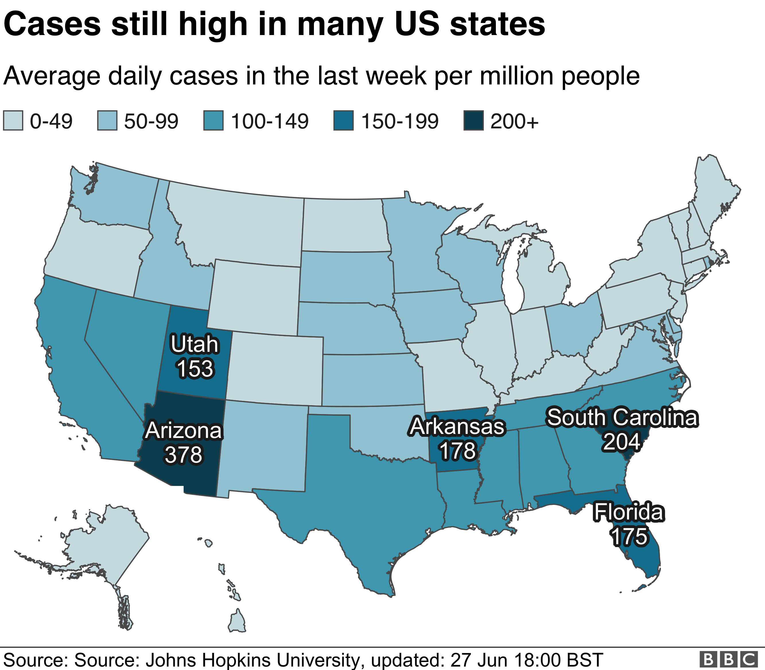 Map showing average daily cases in the US