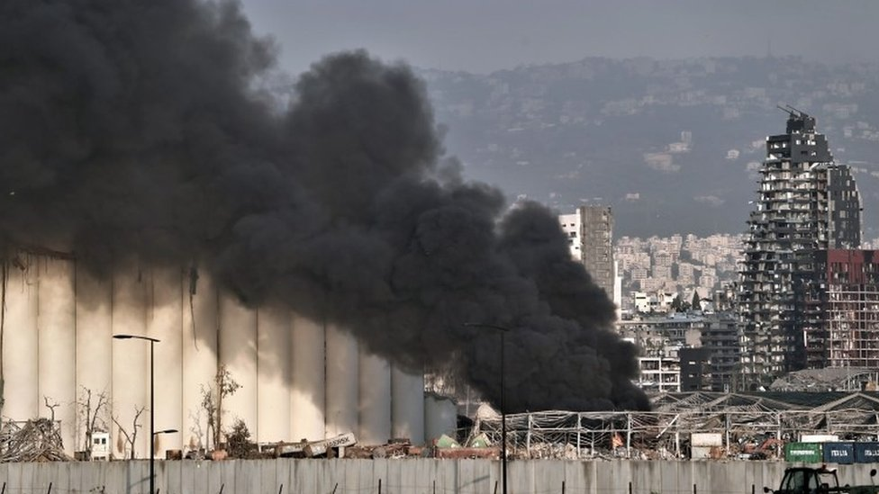 Smoke billows from the scene of the explosion