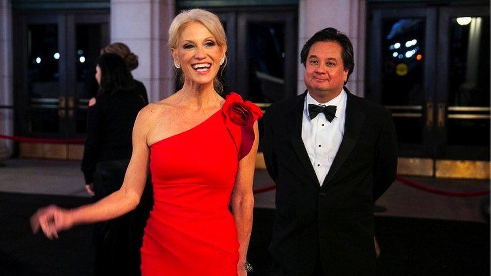 Kellyanne and George Conway dressed formally