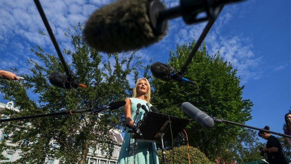 Kellyanne with a forest of microphones