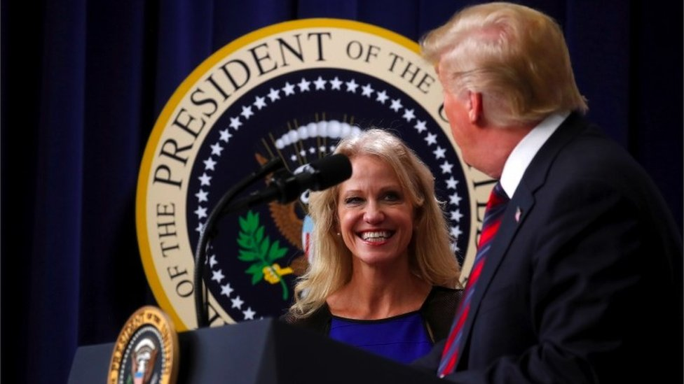 On stage Trump faces a smiling Kellyanne