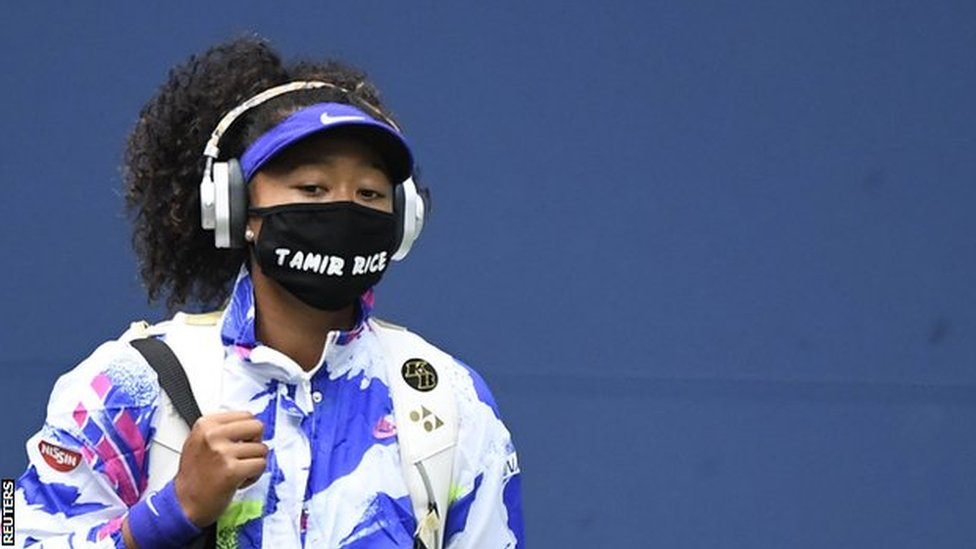 Naomi Osaka arrives on court for the 2020 US Open final wearing a face mask with the name of Tamir Rice