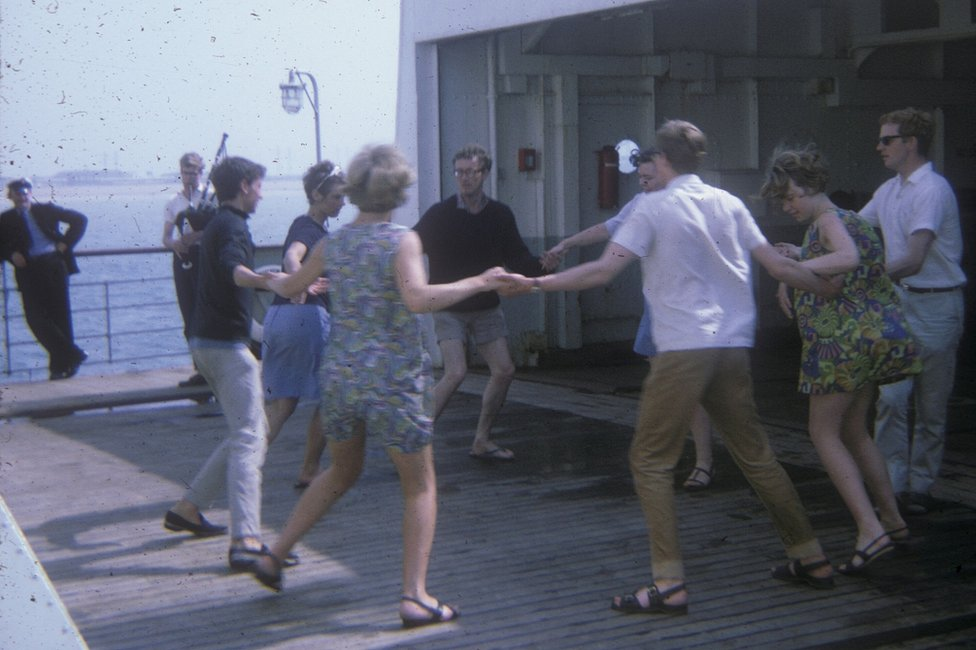 Doing the Eightsome Reel on board the ferry from Dover to Dunkirk