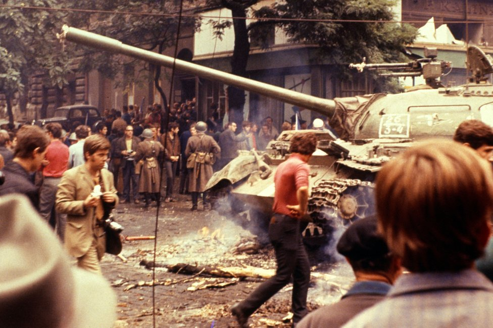 The Red Army and the troops of four other member countries of the Warsaw Pact (Hungary, Poland, Bulgaria and East Germany) invade Czechoslovakia, 21 August 1968