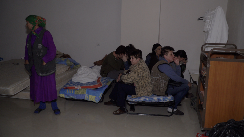 Basement of a hotel is being used as a bomb shelter for refugees
