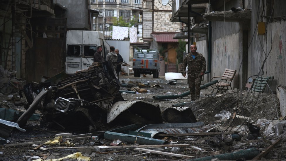 A view shows the aftermath of recent shelling during the ongoing fighting between Armenia and Azerbaijan over the breakaway Nagorno-Karabakh region, in the disputed region's main city of Stepanakert