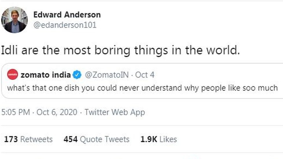 Edward Anderson: Idli are the most boring things in the world
