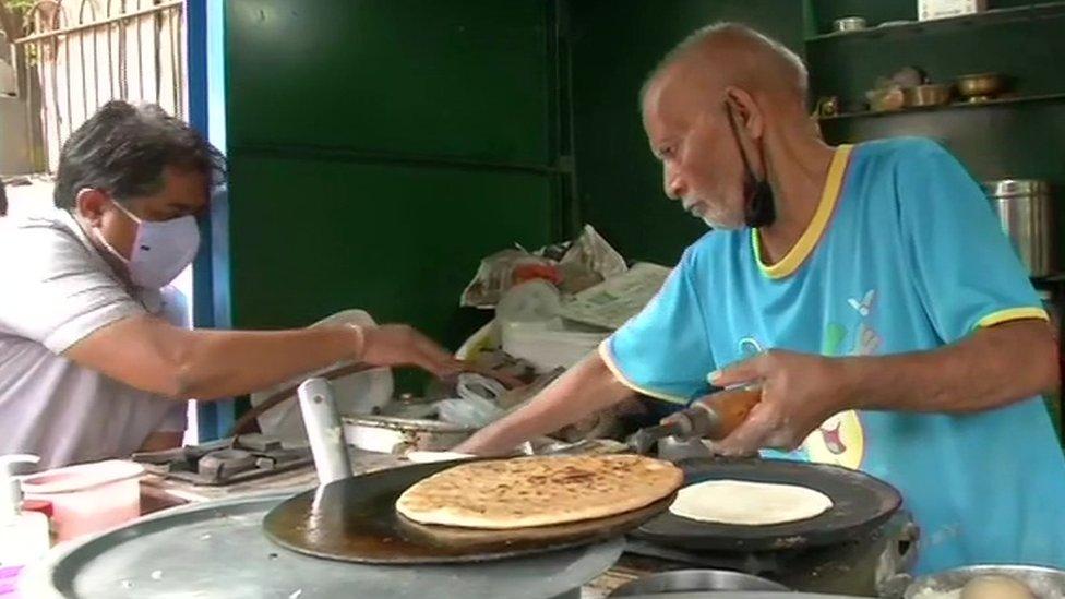 Mr Prasad at his eatery in Delhi