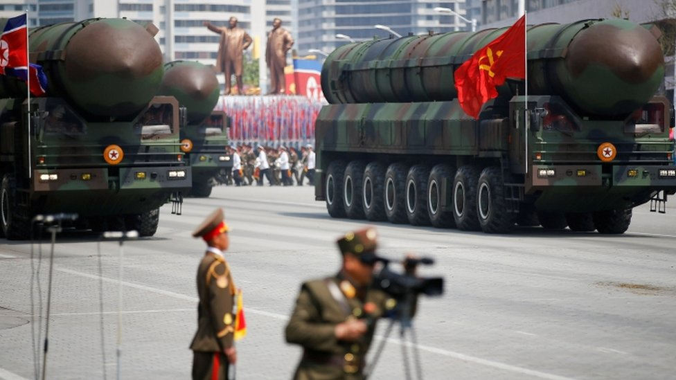 Trucks carrying ICBMs in North Korea