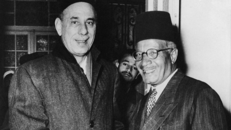 Abdul Rahman Hassan Azzam (left), former Secretary-General of the Arab League, meets Hassan al-Hudaybi (1891 - 1973), leader of the Muslim Brotherhood, upon the latter's release from prison in Cairo, Egypt, 29th March 1954.