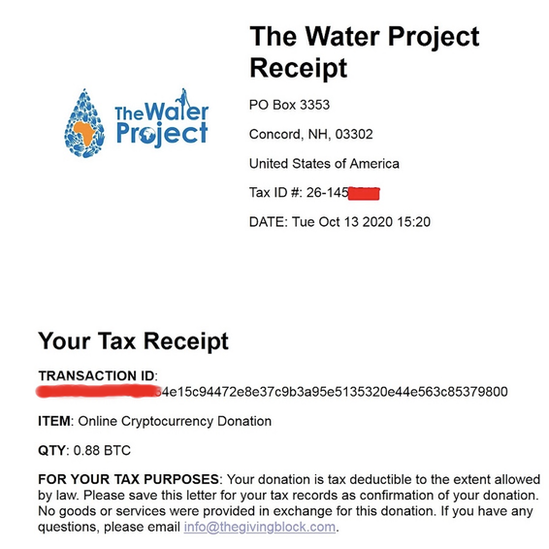 another tax receipt for a donation