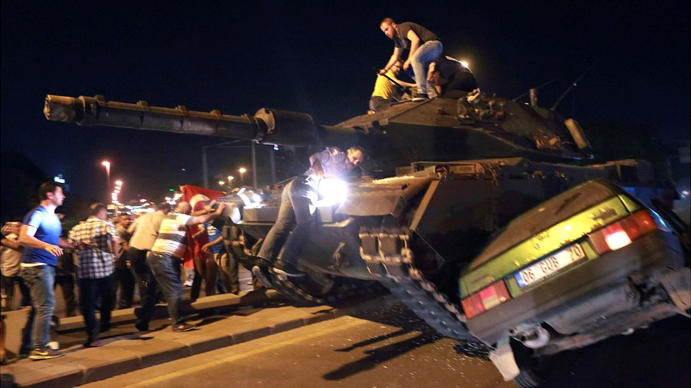 Tank crushing a car as people confront soldiers in Ankara, 16 Jul 16