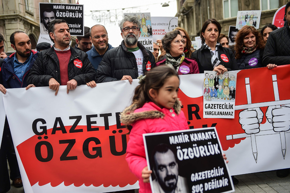 Freedom of speech demonstration in Istanbul, 9 Apr 17