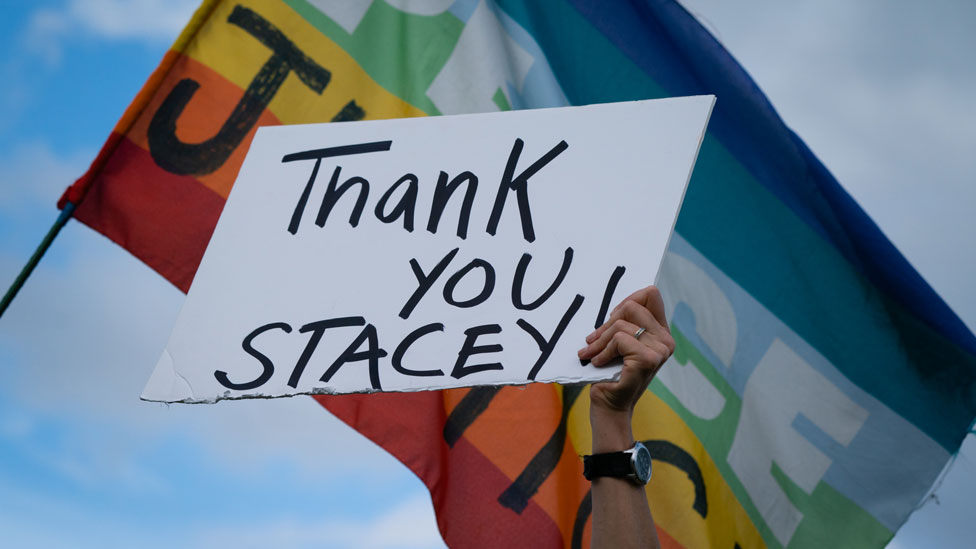 'Thank you Stacey' sign