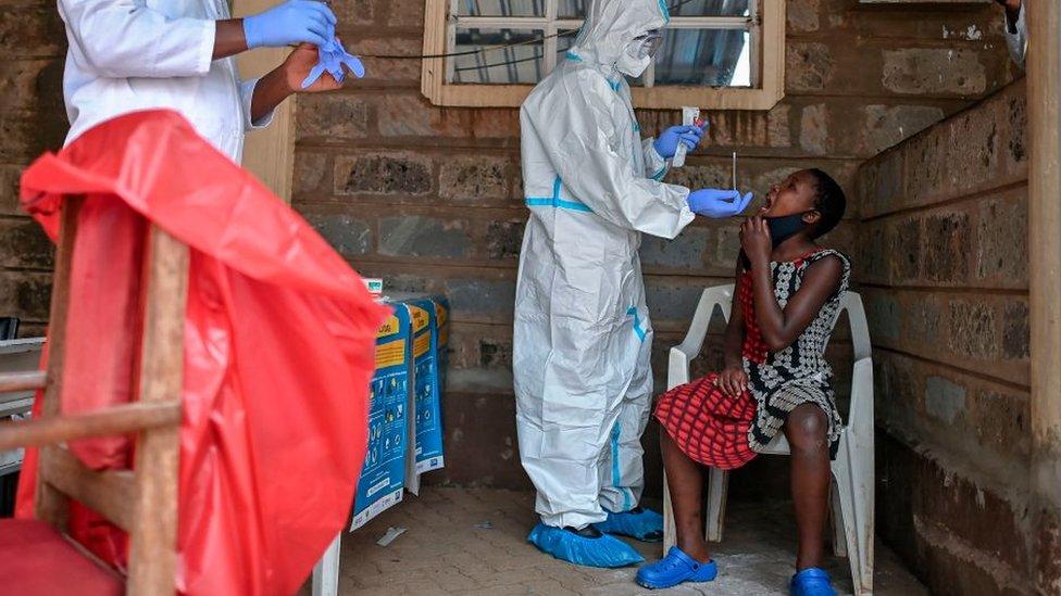 Medics performing coronavirus tests in Kibera, Nairobi, Kenya - October 2020