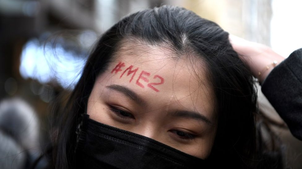 A supporter of Zhou Xiaoxuan, a feminist figure who rose to prominence during Chinas #MeToo movement two years ago