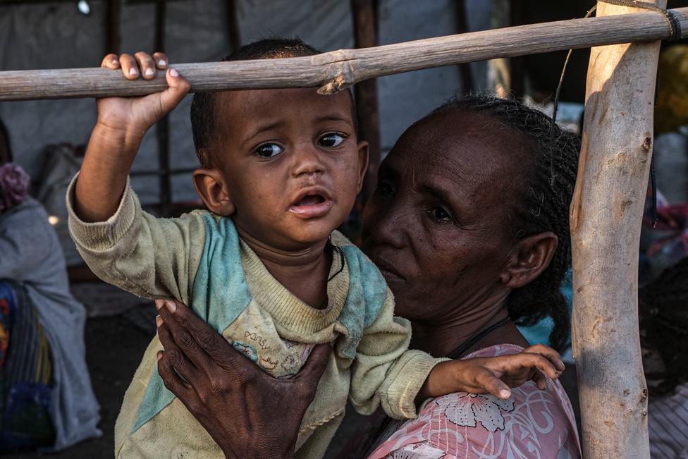 ایتھوپیا کے علاقے ٹگرے سے آنے والے پناہ گزین ہمسایہ ملک سوڈان کے ایک کیمپ میں منتقل کیے جانے کا انتظار کر رہے ہیں۔