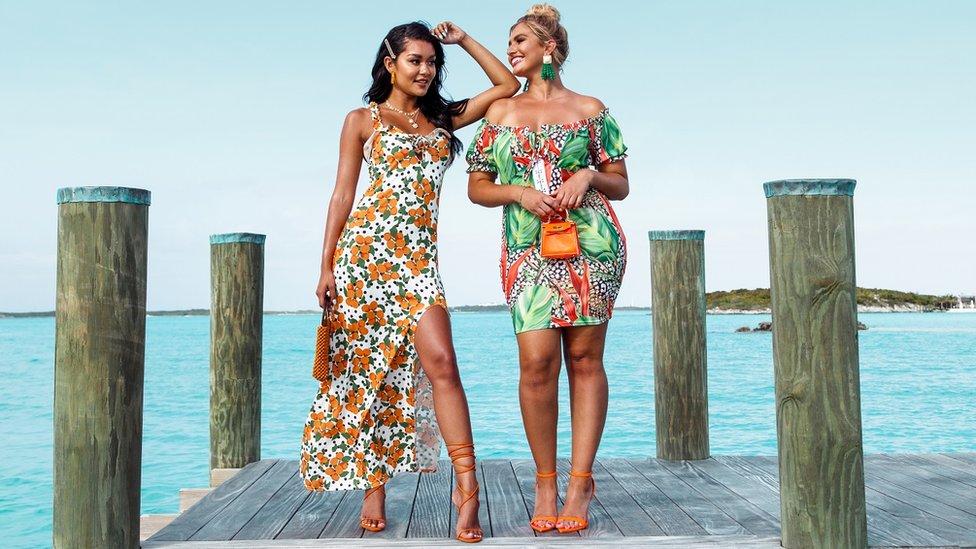 Models wearing floral dresses