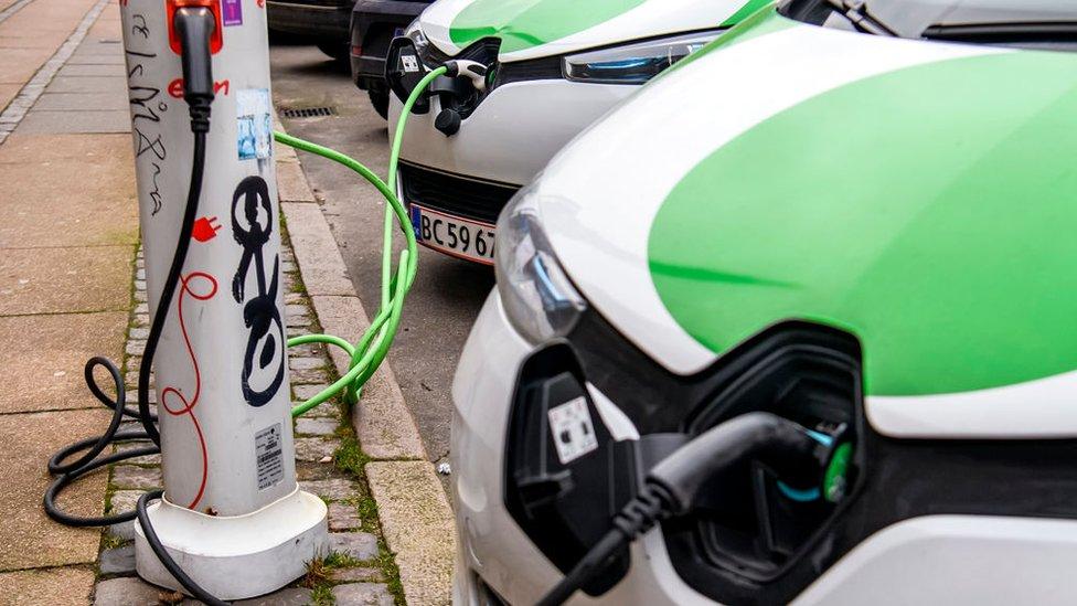 Charging the electric car in Copenhagen, Denmark