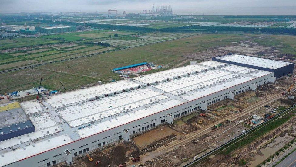 Tesla factory under construction in Shanghai. Spring 2019