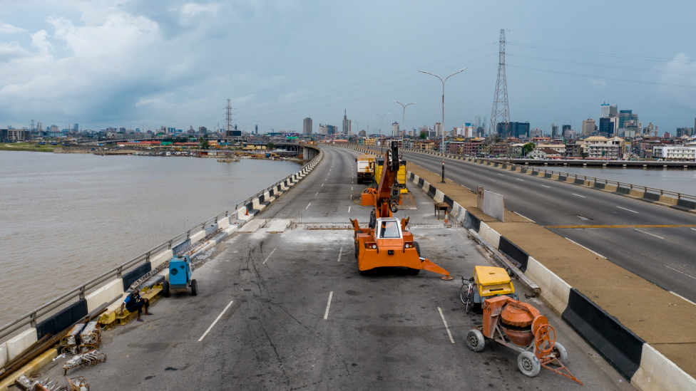 Work being carried out on the Third Mainland Bridge in Lagos, Nigeria