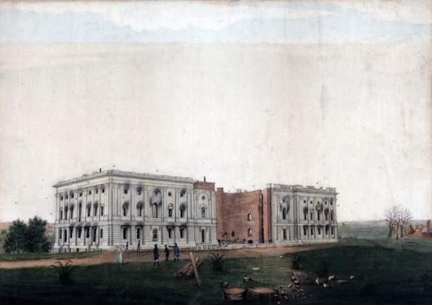 برطانوی حملے کے بعد کیپیٹل کی عمارت کی ایک تصویر