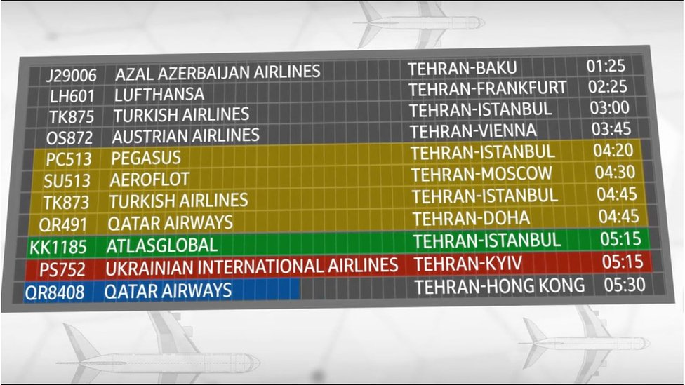 The departures board at Imam Khomeini Tehran International Airport.
