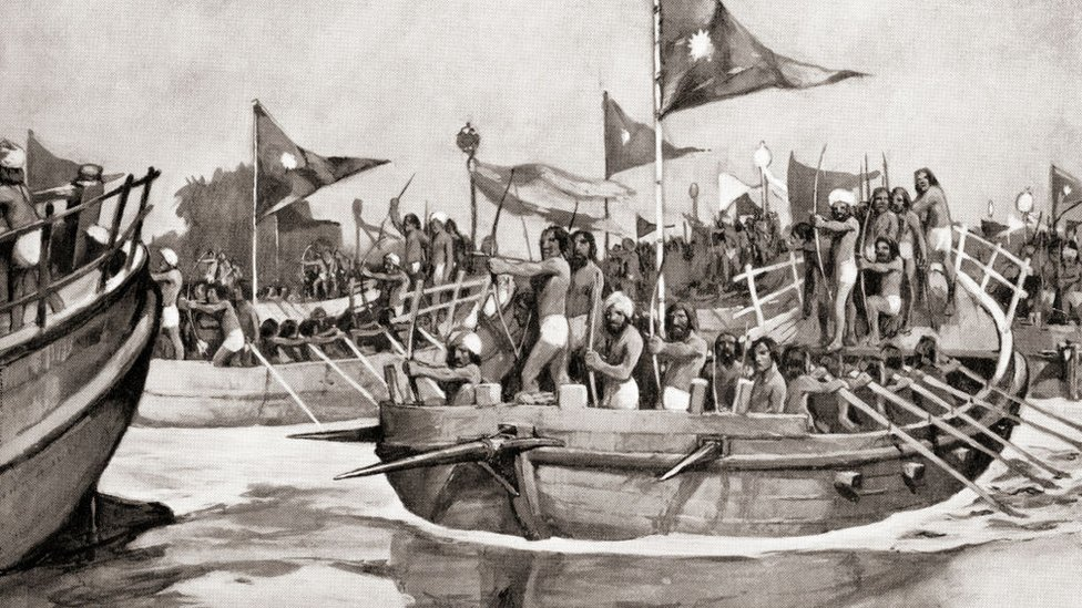 Mahmud of Ghazni attacking the Jats on the Chenab River, Northern India in 1026. Yam?n-ud-Dawla Abul-Q??im Ma?m?d ibn Sebükteg?n, aka Mahmud of Ghazni or Mahm?d-i Z?bul?, 971 – 1030. Prominent ruler of the Ghaznavid Empire. From Hutchinson's History of the Nations, published 1915.