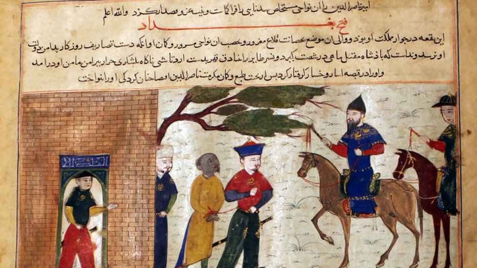 Captured Indian Raja Brought to Sultan Mahmud of Ghazni, Folio from a Majma al-Tavarikh (World Histories), circa 1425. Artist Unknown.