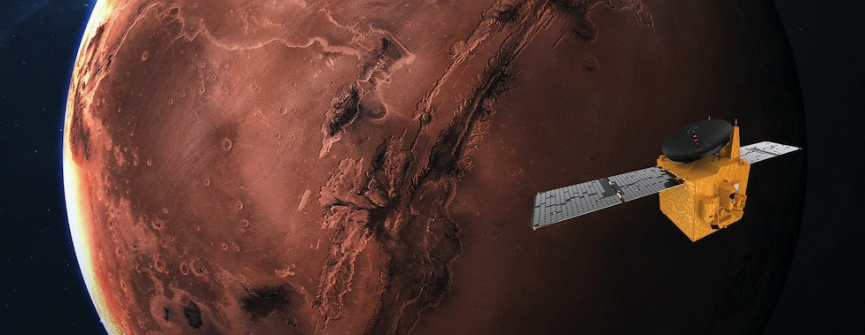 Undated handout photo issued by Mohammed Bin Rashid Space Centre (MBRSC) of an artist's impression of the Hope Probe, the United Arab Emirates' first Mars mission, using the Hope probe